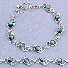 925 sterling silver 17.42cts tennis natural blue labradorite bracelet t8439