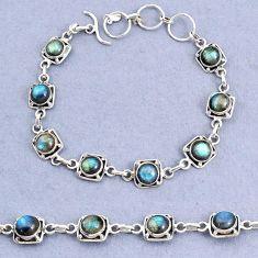 925 sterling silver 16.46cts tennis natural blue labradorite bracelet t8459