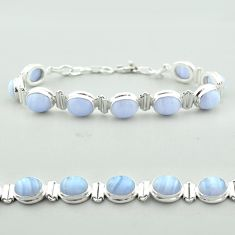 925 sterling silver 38.23cts tennis natural blue lace agate oval bracelet t55632
