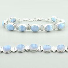 925 sterling silver 37.55cts tennis natural blue lace agate oval bracelet t55637