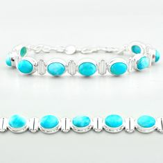 925 sterling silver 29.84cts tennis natural blue larimar bracelet jewelry t55044
