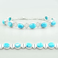 925 sterling silver 30.09cts tennis natural blue larimar bracelet jewelry t55048