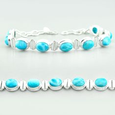 925 sterling silver 29.54cts tennis natural blue larimar bracelet jewelry t55054