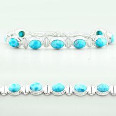 925 sterling silver 29.84cts tennis natural blue larimar oval bracelet t55046