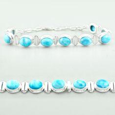 925 sterling silver 30.05cts tennis natural blue larimar oval bracelet t55051
