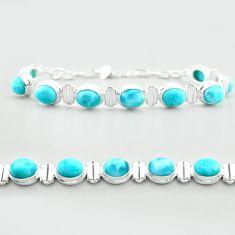 925 sterling silver 30.72cts tennis natural blue larimar oval bracelet t55057