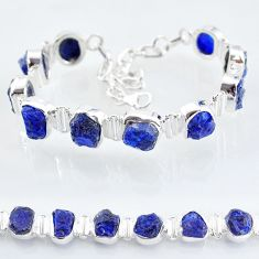 925 sterling silver 36.96cts tennis natural blue sapphire raw bracelet t6671