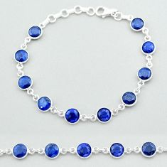 925 sterling silver 19.94cts tennis natural blue sapphire round bracelet t40329