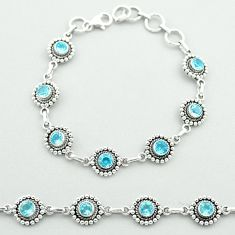 925 sterling silver 6.74cts tennis natural blue topaz bracelet jewelry t52076