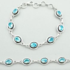 925 sterling silver 10.15cts tennis natural blue topaz bracelet jewelry t52079