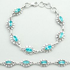 925 sterling silver 9.79cts tennis natural blue topaz bracelet jewelry t52095