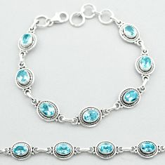 925 sterling silver 9.98cts tennis natural blue topaz bracelet jewelry t52103