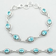 925 sterling silver 10.82cts tennis natural blue topaz bracelet jewelry t52168