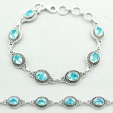 925 sterling silver 10.30cts tennis natural blue topaz oval bracelet t52092