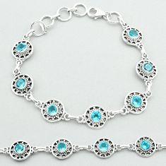 925 sterling silver 6.96cts tennis natural blue topaz round bracelet t52128