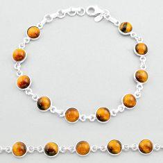 925 sterling silver 20.90cts tennis natural brown tiger's eye bracelet t40364