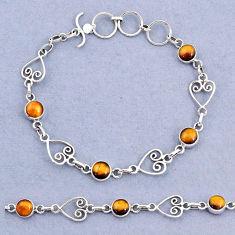 925 sterling silver 10.16cts tennis natural brown tiger's eye bracelet t8353