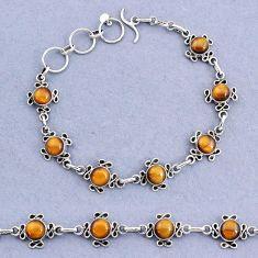 925 sterling silver 14.61cts tennis natural brown tiger's eye bracelet t8371