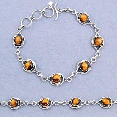925 sterling silver 14.48cts tennis natural brown tiger's eye bracelet t8393