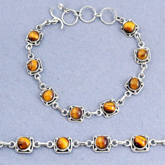 925 sterling silver 17.42cts tennis natural brown tiger's eye bracelet t8412