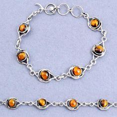 925 sterling silver 14.82cts tennis natural brown tiger's eye bracelet t8450