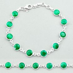 18.95cts 925 sterling silver tennis natural green emerald round bracelet t40337
