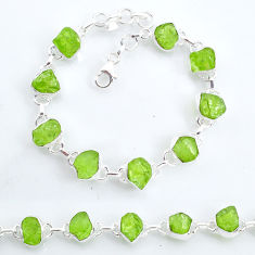 925 sterling silver 37.97cts tennis natural green peridot raw bracelet t6651