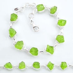 925 sterling silver 33.07cts tennis natural green peridot raw bracelet t6658