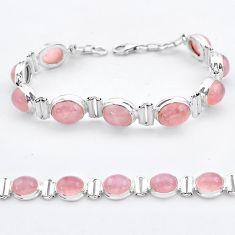 925 sterling silver 36.99cts tennis natural pink rose quartz bracelet t37651