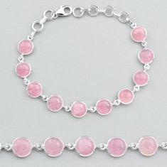 925 sterling silver 27.02cts tennis natural pink rose quartz bracelet t48703