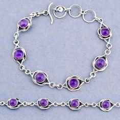 925 sterling silver 13.89cts tennis natural purple amethyst bracelet t8386