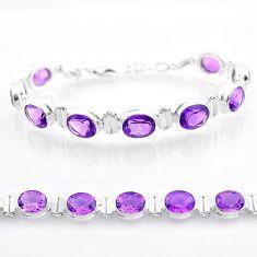 925 sterling silver 35.98cts tennis natural purple amethyst oval bracelet t47486
