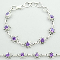 925 sterling silver 5.93cts tennis natural purple amethyst round bracelet t52147