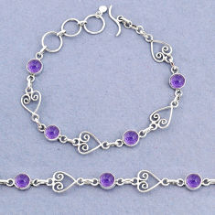 925 sterling silver 9.84cts tennis natural purple amethyst round bracelet t8347