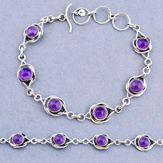 925 sterling silver 14.50cts tennis natural purple amethyst round bracelet t8383