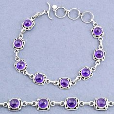 925 sterling silver 17.38cts tennis natural purple amethyst round bracelet t8403