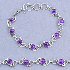 925 sterling silver 16.42cts tennis natural purple amethyst round bracelet t8424
