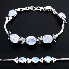 925 sterling silver 20.43cts tennis natural rainbow moonstone bracelet t48687