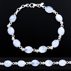 925 sterling silver 30.88cts tennis natural rainbow moonstone bracelet t48743