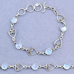 925 sterling silver 10.16cts tennis natural rainbow moonstone bracelet t8358