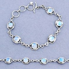 925 sterling silver 15.39cts tennis natural rainbow moonstone bracelet t8397