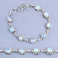 925 sterling silver 18.02cts tennis natural rainbow moonstone bracelet t8418