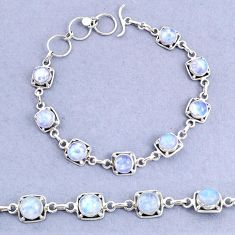 925 sterling silver 17.70cts tennis natural rainbow moonstone bracelet t8456