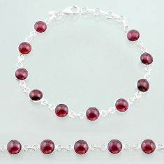 925 sterling silver 21.48cts tennis natural red garnet bracelet jewelry t40384