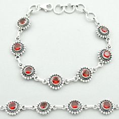 925 sterling silver 6.51cts tennis natural red garnet bracelet jewelry t52073