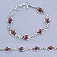 925 sterling silver 15.72cts tennis natural red garnet bracelet jewelry t8389