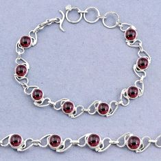 925 sterling silver 17.65cts tennis natural red garnet bracelet jewelry t8428