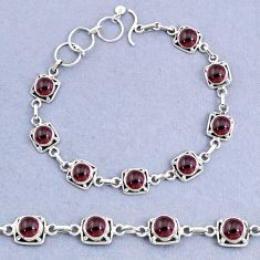 925 sterling silver 16.34cts tennis natural red garnet bracelet jewelry t8444