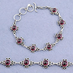 925 sterling silver 14.92cts tennis natural red garnet round bracelet t8365
