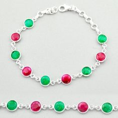 925 sterling silver 18.82cts tennis natural red ruby emerald bracelet t40344